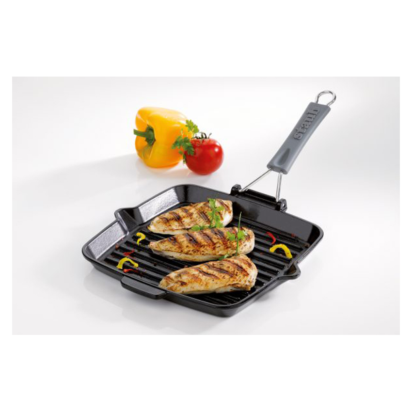 Bistecchiera quadrata in ghisa smaltata 24 cm Staub pollo