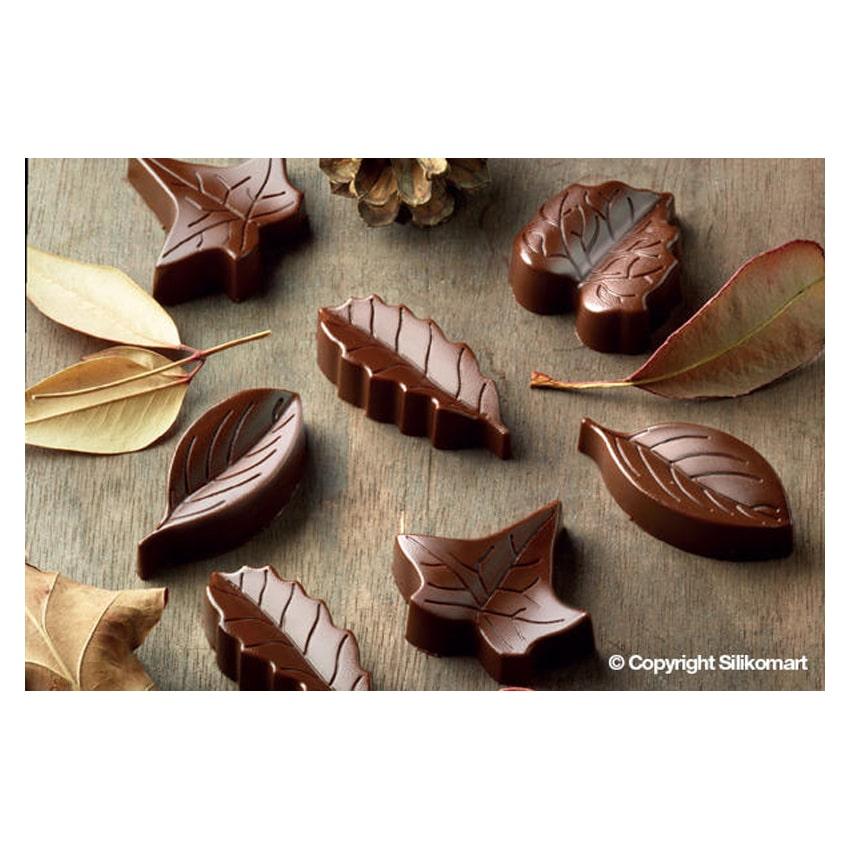 STAMPO CIOCCOLATINI IN SILICONE NATURE 8 foglie linea Easy Choc di SILIKOMART