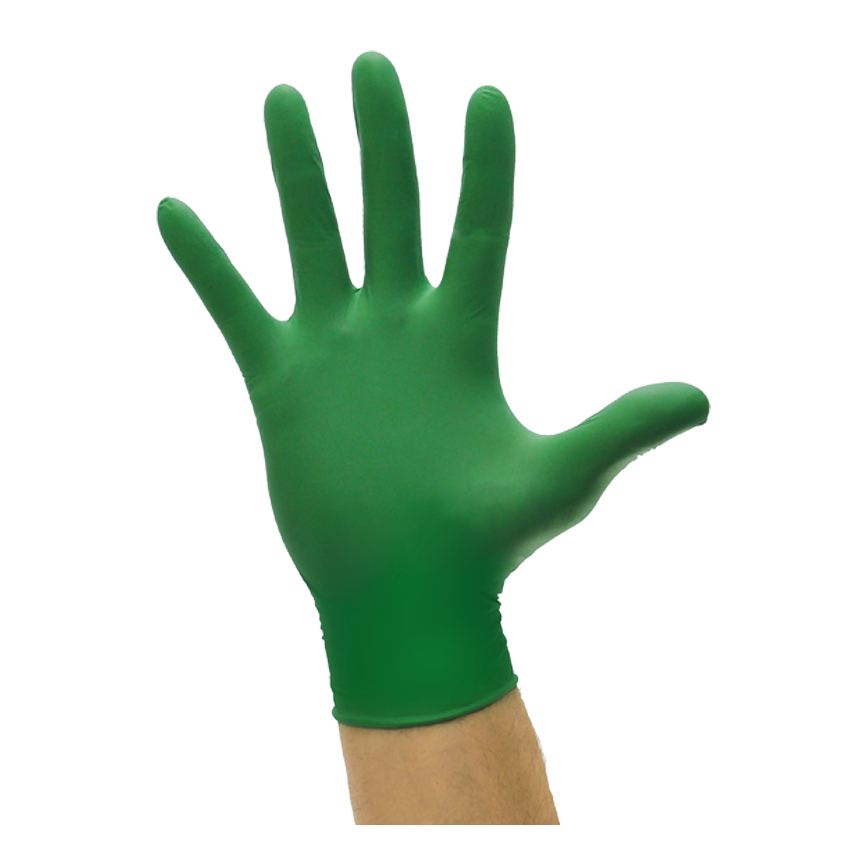 Guanti monouso in nitrile biodegradabile Bio Nitril verde 20 pz