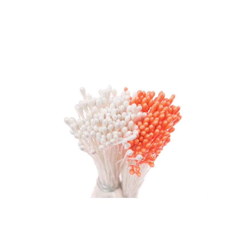 Confezione 288 pistilli arancio bianco Decora