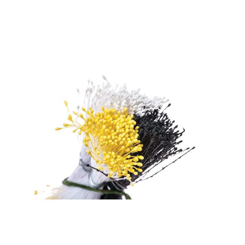 Confezione 864 pistilli bianco nero giallo Decora