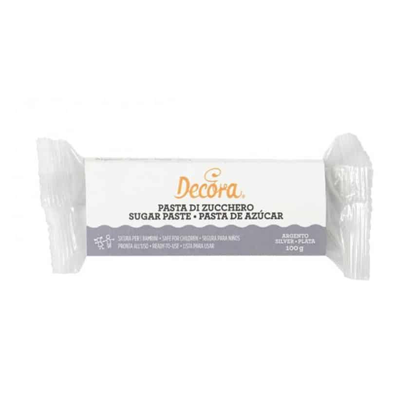 Pasta di zucchero argento Decora - 100 gr