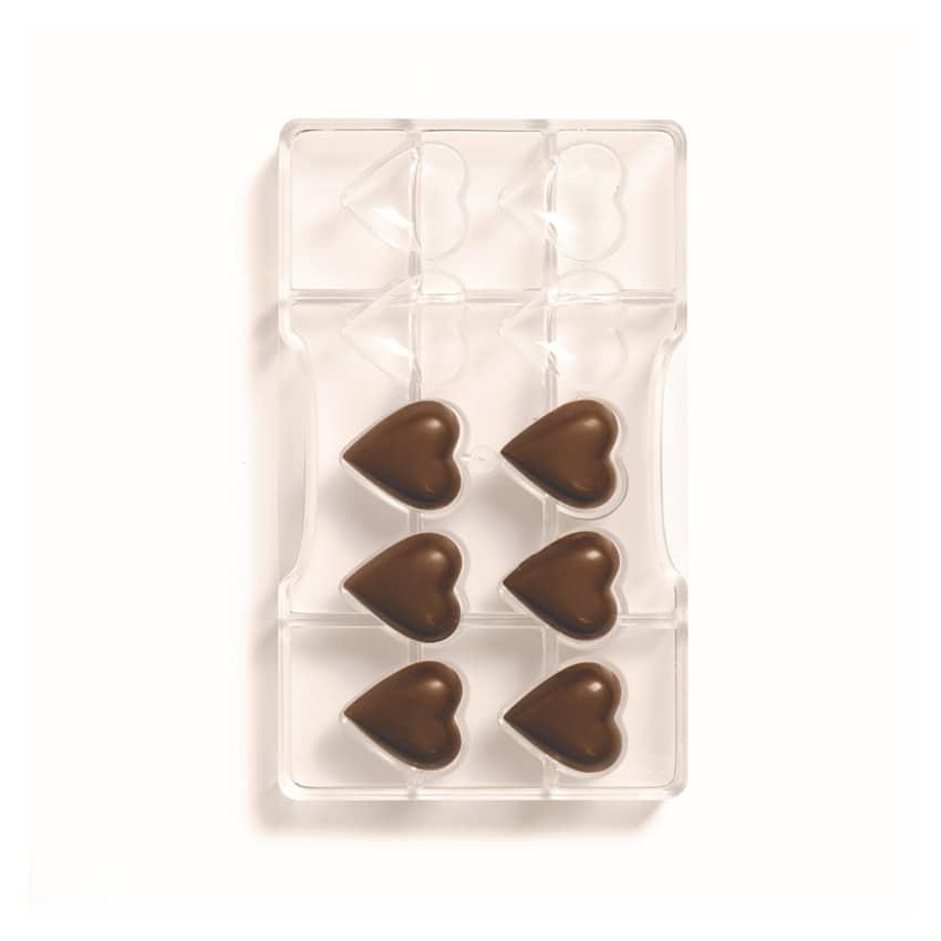 Stampo cioccolato in policarbonato cuore liscio 10 cavità 3,2x3,5x1 cm Decora