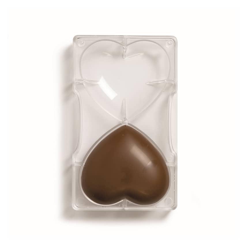 Stampo cioccolatino in policarbonato cuori 2 cavità 9,5x10x2 cm Decora