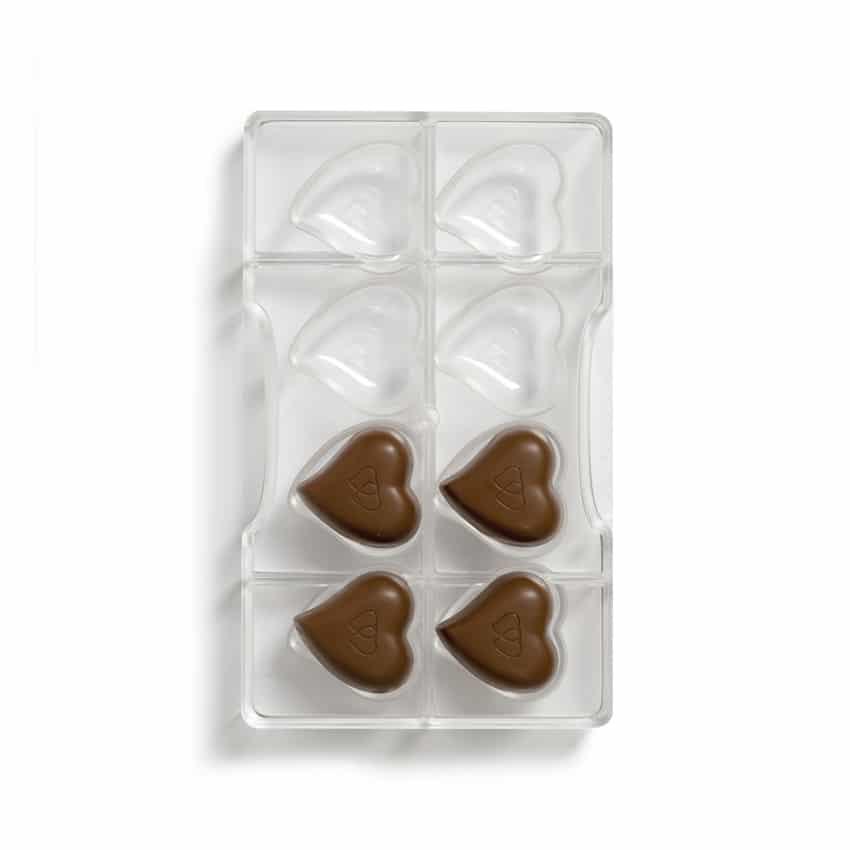 Stampo cioccolatino in policarbonato cuore 8 cavità 3,9X3,9X1 cm Decora