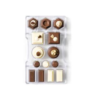 Stampo cioccolatino in policarbonato geometrico 10 cavità 4x2 cm Decora