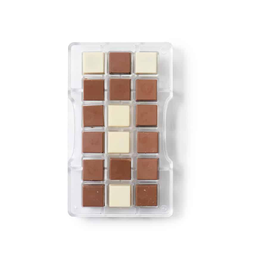 Stampo cioccolatino in policarbonato quadro 18 cavità 2,5x2,5x1 cm Decora