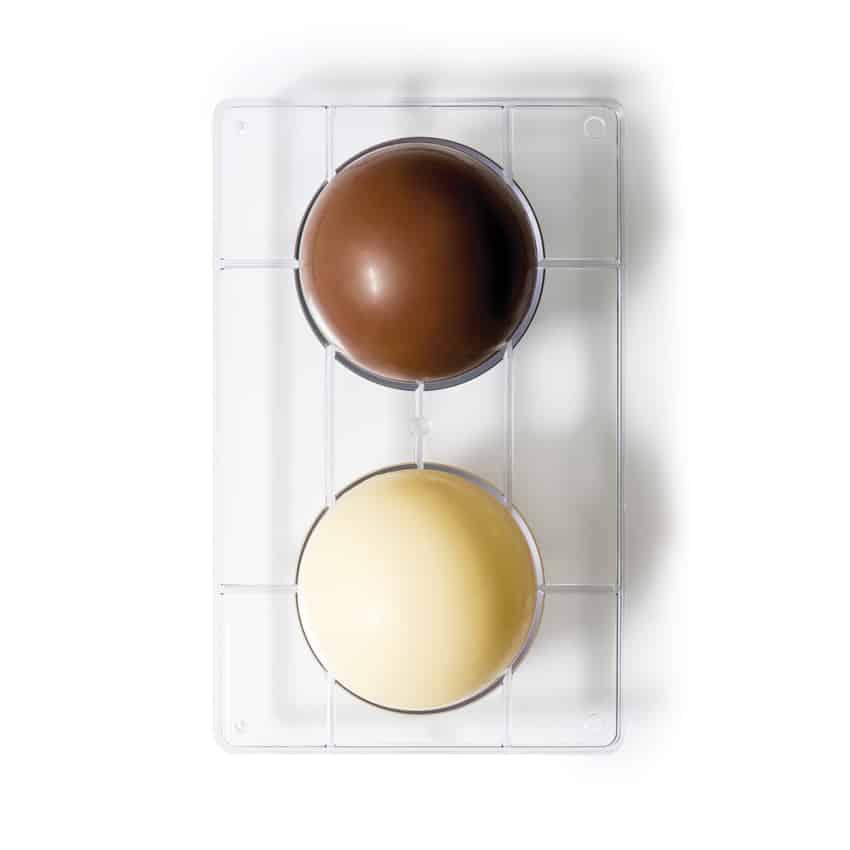 Stampo cioccolatino in policarbonato semisfera 2 cavità 10x4,5 cm Decora
