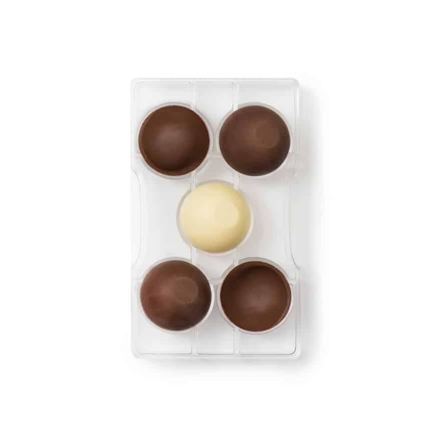 Stampo cioccolato in policarbonato semisfera con base 2 cavità 5x2,5 cm Decora
