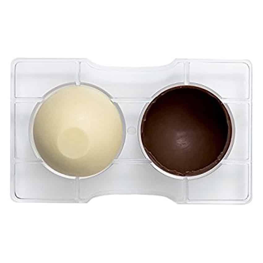 Stampo cioccolatino in policarbonato semisfera con base 2 cavità 7,5x4 cm Decora