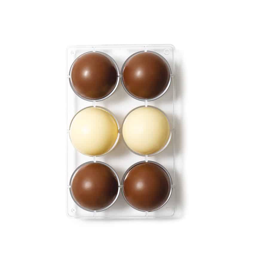 Stampo cioccolatino in policarbonato semisfera 6 cavità 7,5x2,5 cm Decora