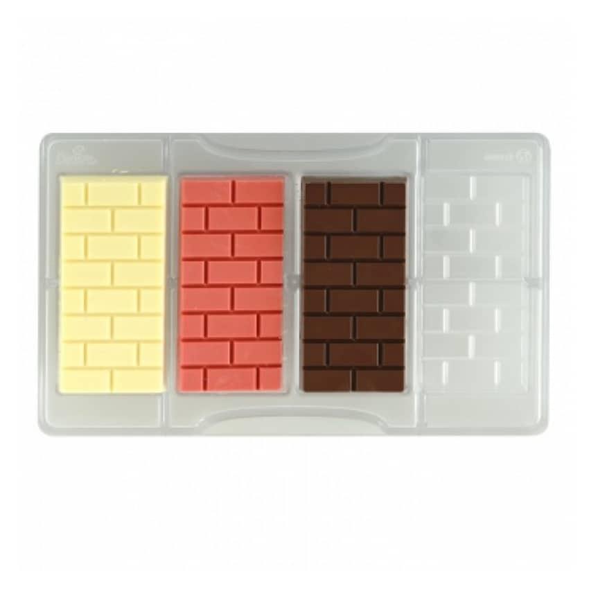 Stampo cioccolatino in policarbonato tavoletta mattoni 4 cavità 8,5x4,2x1 cm Decora