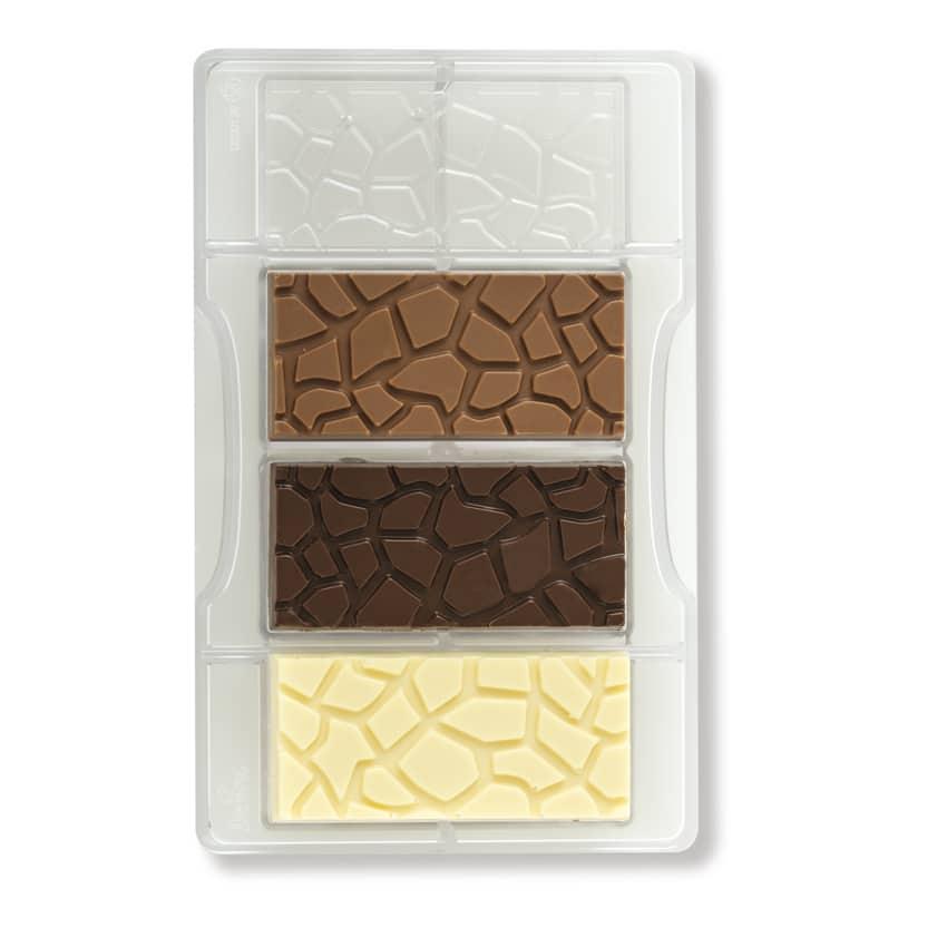 Stampo cioccolatino in policarbonato tavoletta tartarugata 4 cavità 8,5x4,2x1 cm Decora