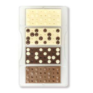 Stampo cioccolato policarbonato tavoletta bolle 4 cavità 8,5x4,2x1 cm Decora
