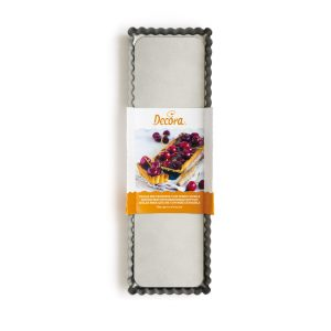 Stampo per crostata antiaderente rettangolare fondo mobile 35x11 cm