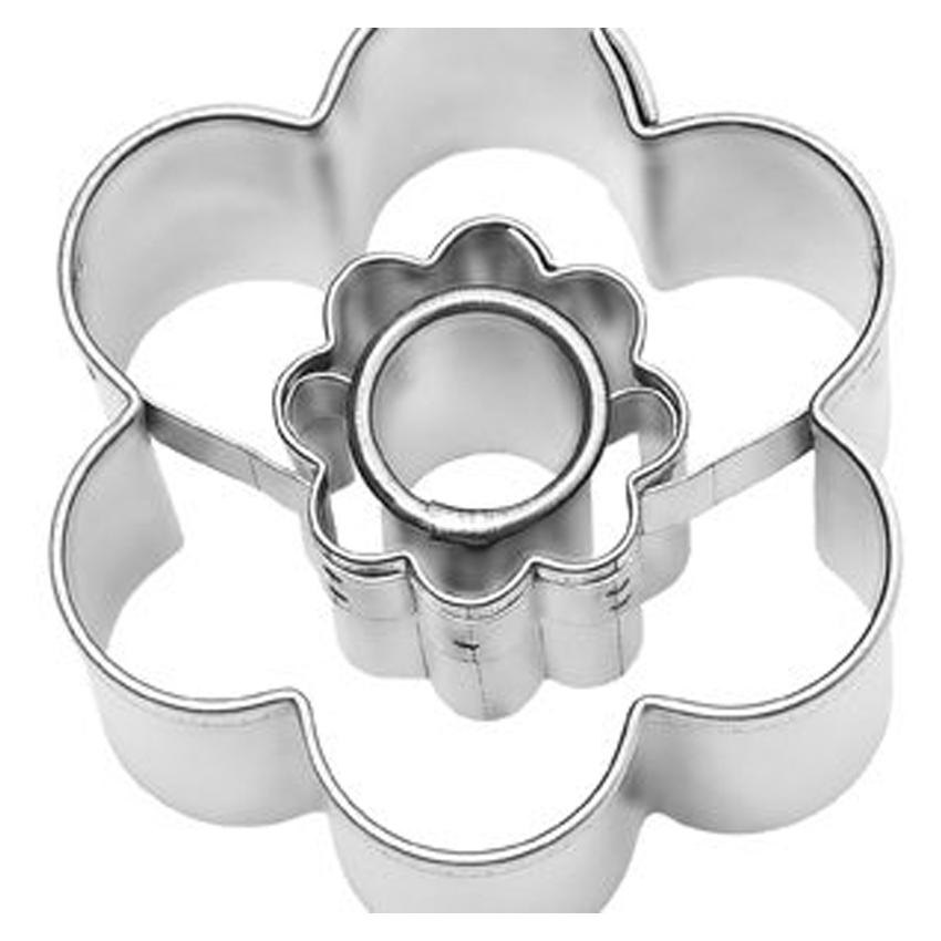 Stampino per biscotti in acciaio fiorellino tondo