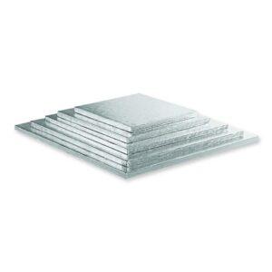 Sottotorta quadrato argentato h 1,2 cm Decora
