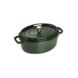 Cocotte ovale verde in ghisa smaltata Staub