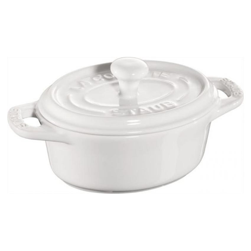 Mini cocotte ovale in ceramica Staub bianco