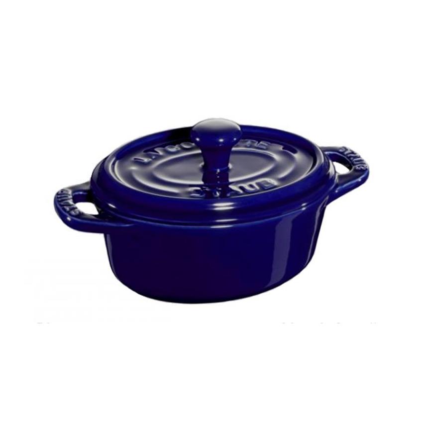 Mini cocotte ovale in ceramica Staub blu