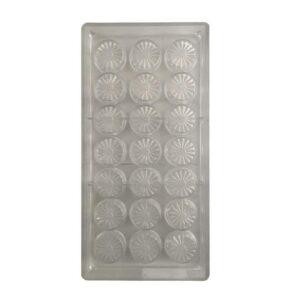 Stampo 21 cioccolatini tondi con fiore in policarbonato