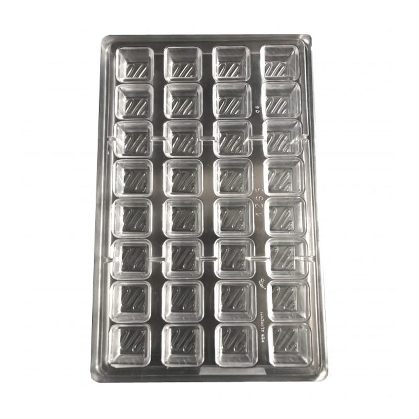 Stampo 32 cioccolatini quadrati con ghirigori