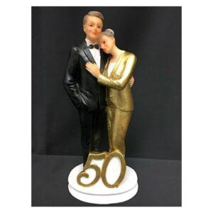 Cake topper anniversario 50 oro