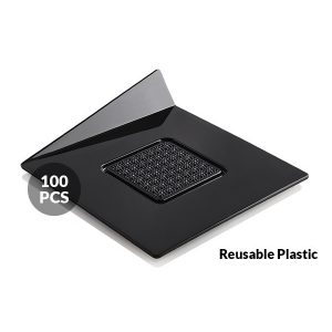 Set 100 Vassoi per monoporzioni Quadrati 83x83 mm Neri Silikomart Professional