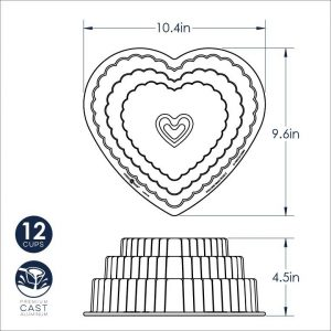 Stampo aStampo antiaderente Tiered Heart Nordic Warentiaderente Tiered Heart Cakelet Nordic Ware