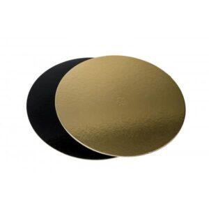 Disco sottotorta tondo in cartoncino Oro e Nero